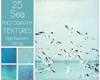25 Sea Textures - Fine Art Textures - Pastel - Summer - Photoshop Texture - Digital Background - Photography Overlay - Summer Sea Overlays