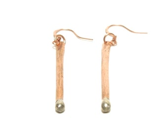 Copper Earrings, Copper and Silver Tips, Women, , Ready To Ship,,