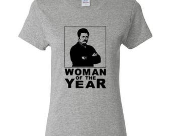 Ron Swanson Woman of the Year Parks and Recreation Rec T-Shirt tee shirt Leslie Knope Pawnee