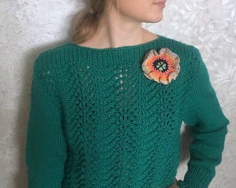 Hand Knitted Women's Sweater, Women's Knitted Sweater, Handmade Sweater,Green,Wonderful sweater on St. Patrick's Day,SHIPPING FREE