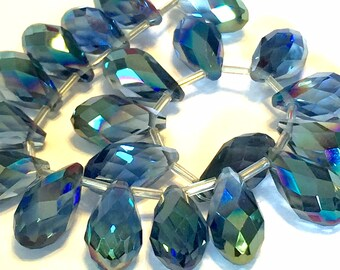 AB Coated Blue Faceted Crystal drop briolettes top drilled 17mm