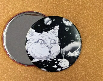 2.25 Inch Hand Mirror - Bubble Blowing Cloud Cat, Cat Artwork, Cat Mirror, Purse Mirror, Compact Mirror, Round Mirror, Pocket Mirror