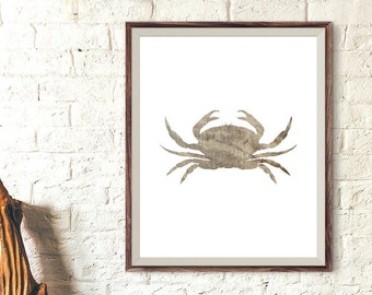Wooden Crab Decor, Seafood Print, Crab Print, Coastal Decor, Marine Life Decor, Seafood Restaurant Decor, Beach Art, Crab Wall Art Print