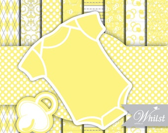 Yellow Digital paper frame baby yellow chevron photo circle digital frames clip art onepiece romper stripe : p0200 3s1050