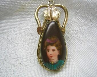 Antique Victorian Hand Painted Portrait Cameo Pendant