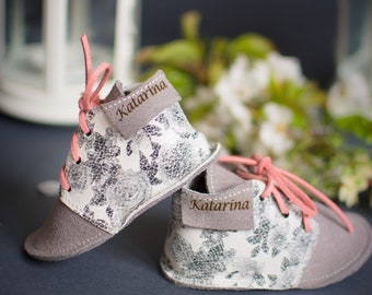 Baby girl first shoes, Baby leather shoes, Prewalker shoes, Floral/gray baby shoes, Soft soles baby shoes, Baby moccasins, Infant shoes