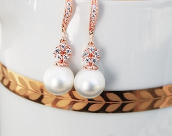 Pearl Bridal Jewelry 166ERG. WHITE Pearl Earrings. Rose Gold Bridal Earrings. Fancy Floral CZ & White Pearls. Rose gold Wedding Jewelry