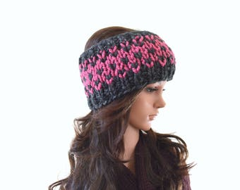 Chunky Fair Isle Nordic Style Knitted Ear Warmer, Woman Knit Headband, Ski Ear Warmer | The Eve