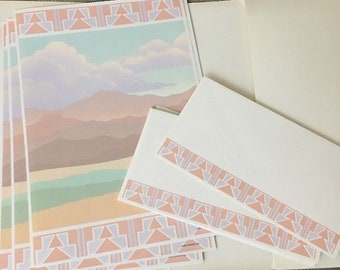 Vintage 1980s Pastel Stationary Santa Fe New Mexico Southwest Letter Set