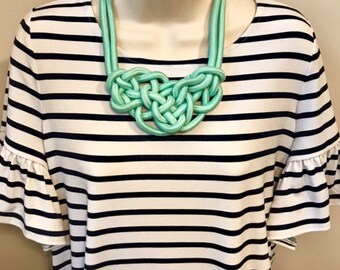 Mint Green Sea Green Nautical Sailor Rope Knot Statement Necklace
