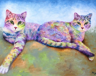 """Tabby Cat Print - Cat Lover Gift, Cat Gift for Her, Two Tabby Cats, Cat Decor, Rainbow Cat Art Print of Tabby Cat Painting """"Credit & Debit"""""""