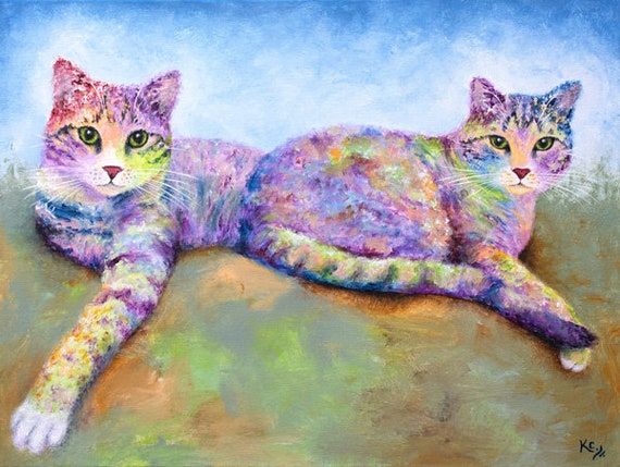 "Tabby Cat Print - Cat Lover Gift, Cat Gift for Her, Two Tabby Cats, Cat Decor, Rainbow Cat Art Print of Tabby Cat Painting ""Credit & Debit"""