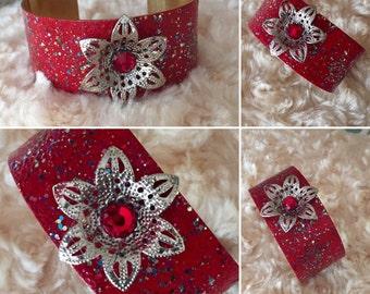 Red Bracelet, Red Cuff, Red Bracelet Cuff, Red Jewelry, Brass Cuss, Adjustable Red Cuff Bracelet, Flower Bracelet, Red jewelry