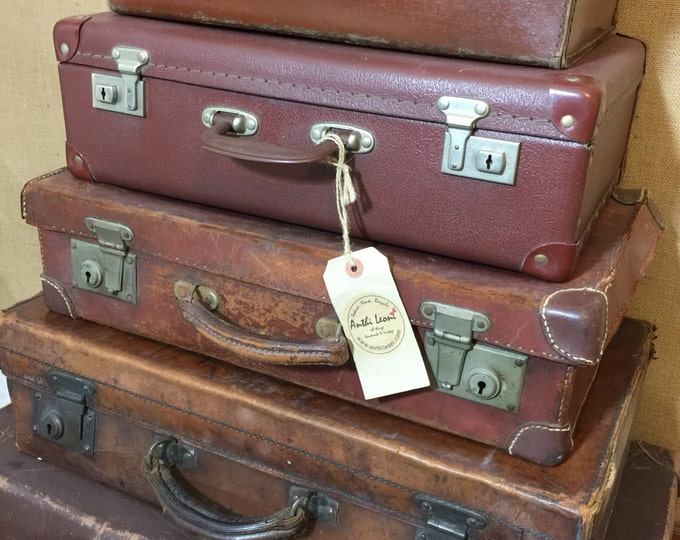 Featured listing image: Luggage For Men | Vintage Brown Suitcases - Tan Vintage Luggage - Suitcase Stack Storage - Vintage Leather Cases -  Interior Design Props