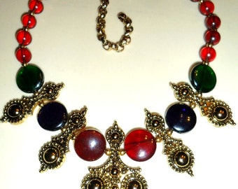vintage superb Jose Maria BARRERA bib Necklace Adriatic collection for Avon -- glass beads