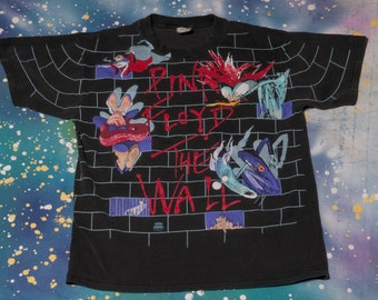 1992 PINK FLOYD The Wall All-Over Print T-Shirt Size L 90s