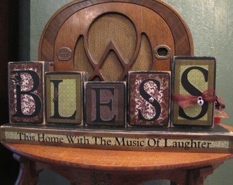 Bless This Home With the Music of Laughter Sign Word Blocks