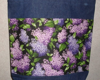 New Handmade Large Spring Lilacs Floral Flowers Denim Tote Bag