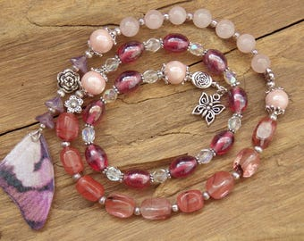 Butterfly Maiden Wiccan Prayer Beads, Pagan Rosary, Hopi Spirit, Transformation, Witches' Ladder, Rebirth, Spring Equinox