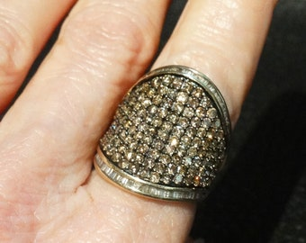 3 Carat Diamond Ring, Champagne Diamonds, Cigar Band Style, Yellow Gold, Estate