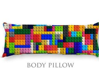 Lego Body Pillow-Lego Bed Pillow-Child Decor-Colorful Body Pillow Cover-Large Pillow Cover-Lego Pillow Cover-Teen Room Decor-Lego Bricks