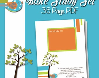 PDF BIBLE Study Journal and Notes 35 Printables - Custom - Mod Bird - Prayer Reminders - Study Notes - Reference Pages - Speaker Notes