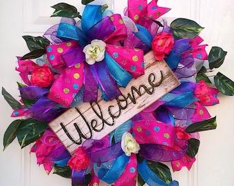 Spring Wreath,Summer Wreath,Front door decor,Mothers Day Wreath,Spring Decor,Summer Decor,Everyday Wreath,Floral Wreath