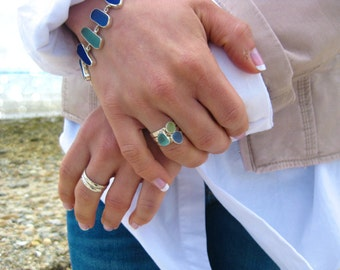 Set of 3 Sea Glass Stack Rings   Set of 3 Rings   Sterling Silver & Authentic Sea Glass Ring   Eco Friendly   Hand made   Sea Glass