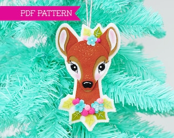 PDF Pattern, Reindeer Ornament, Christmas Ornament, Deer Embroidery Pattern, Felt Deer, Little Deer Pattern, Hoop Art, Felt Flowers