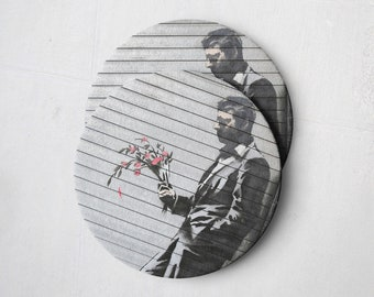 Banksy Drink Coasters – Absorbent Coaster Set of 10 – Coasters for Women & Men – Heavyweight Reusable Thick Pulpboard - Man with Flowers