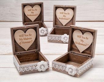 Will You Be My Bridesmaid Box Bridesmaid Proposal Box Maid of Honor Gift Box Sister of the Bride Gift Bridesmaids Gift Wooden Jewelry box