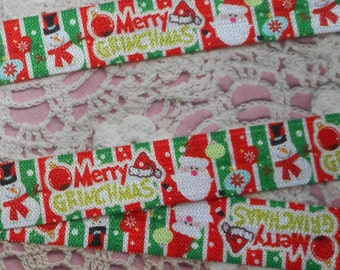 Santa Ribbon and green, red and white snowman elastic polyester 1.60 cm wide.