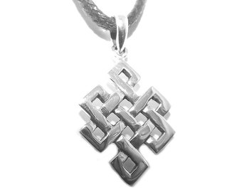 Small Sterling Silver Buddhist Eternity Endless Knot Pendant