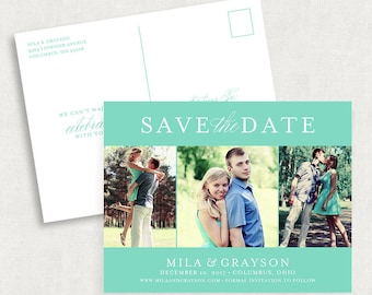 Turquoise Save the Date Postcards, Photo Save the Date Postcards, Custom Save the Dates, Printable Save the Date Postcards, Blue, Aqua, PDF