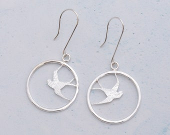 Swallow loop earrings, bird earrings, silver earrings, delicate earrings, nature earrings, dangle earrings, round earrings
