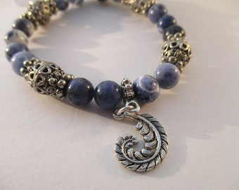Sodalite and Feather Charm Stretch Bracelet B6151770