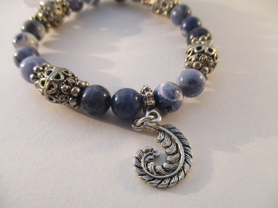 Sodalite and Feather Charm Stretch Bracelet B6151770