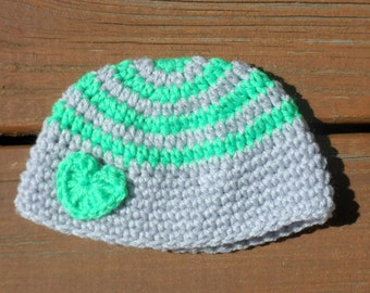 Striped Heart Hat, Gray Hat, Valentines Day Hat, Baby Prop, Infant Photography, Toddler Hat, Baby Boy Hat, Baby Girl Hat, Infant Crochet
