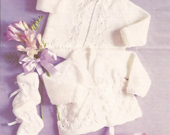 """PDF Knitting Pattern Baby Matinee Coats with Bootees Sizes 16-19""""  (W322)"""