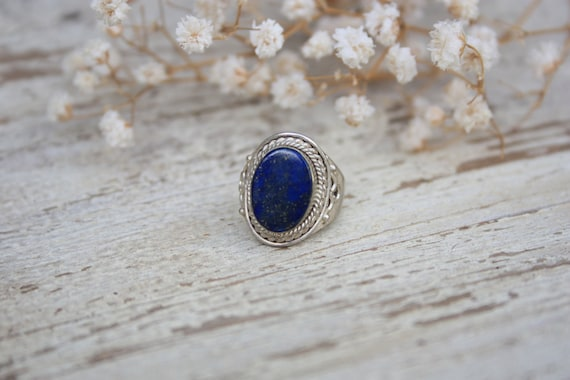 STATEMENT LAPISLAZULI RING- Healing Crystal Ring- Statement Ring- Lapis lazuli- Ethnic Ring- Vintage Ring- Sterling Silver Ring- Silver