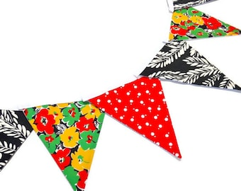 Retro Carnival Festival Bunting Vintage fabric   red, black and green