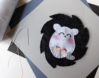 Handmade Hedgehog Soft Felt Baby Rattle
