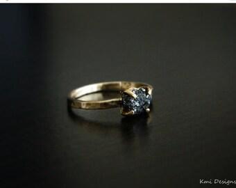 Black Diamond Ring, Uncut Black Diamond Engagement Ring, Raw Diamond Ring, Uncut Diamond Ring, Rough Black Diamond Engagement Ring