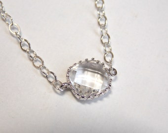 Clear Necklace, Crystal Necklace, Glass Pendant, Silver Necklace, Bridesmaid Necklace, Bridal Jewelry, Bridesmaid Gift
