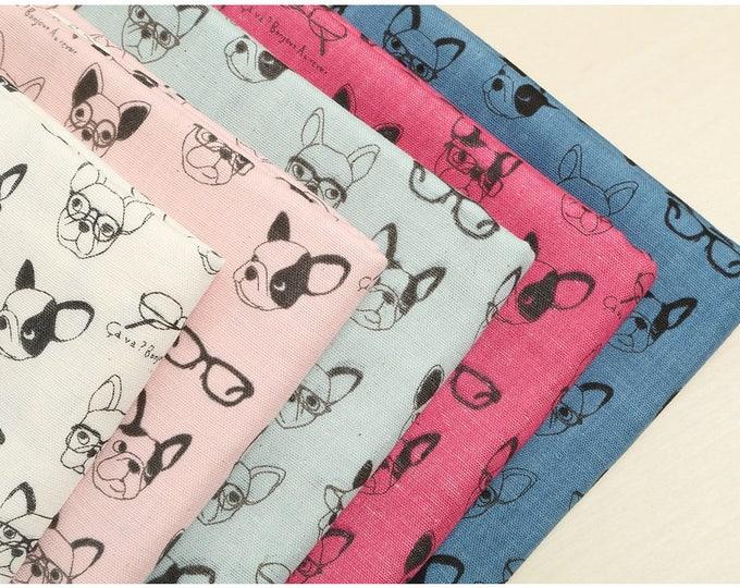 Kokka Japan Fabric - K6006 French Bulldogs - Double Gauze Cotton - Half Yard X 5 pieces