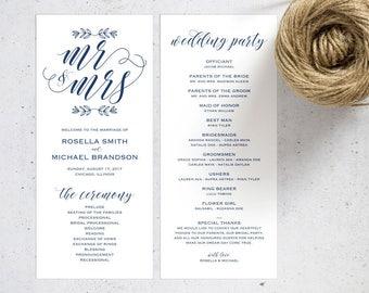 Navy Blue Wedding Program Template, Wedding Ceremony Program, Printable Programs, Kraft Wedding Program, fan, PDF Instant Download, WPC_560