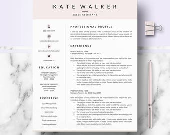 Professional Resume, CV template for Ms Word & Mac Pages; Resume, cv layout, design + Cover Letter + References; Resume, CV Instant Download