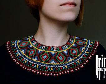 Ukrainian traditional necklace Beaded collar Kryza Gerdan to vyshyvanka Lemko necklace Kryza Krywulka Folk Ukrainian jewelry Seed beads
