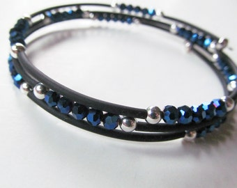 Blue Metallic Crystal and Black Beaded Memory Wire Bracelet - Large