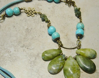 Green and Turquoise Bead Necklace, Bib Necklace, Antique Brass Necklace, Boho, Aqua Suede Cord Necklace, Southwestern